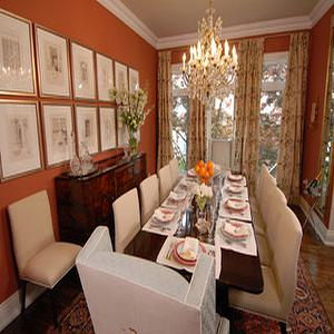 Sarah Richardson Design - dining rooms: orange walls, orange dining room,  Luci's Dining Room. What a stunning room, all the colors look great