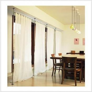 Window Treatments - Modern Drapery Rod Telescoping System - drapery, hardware, room divider