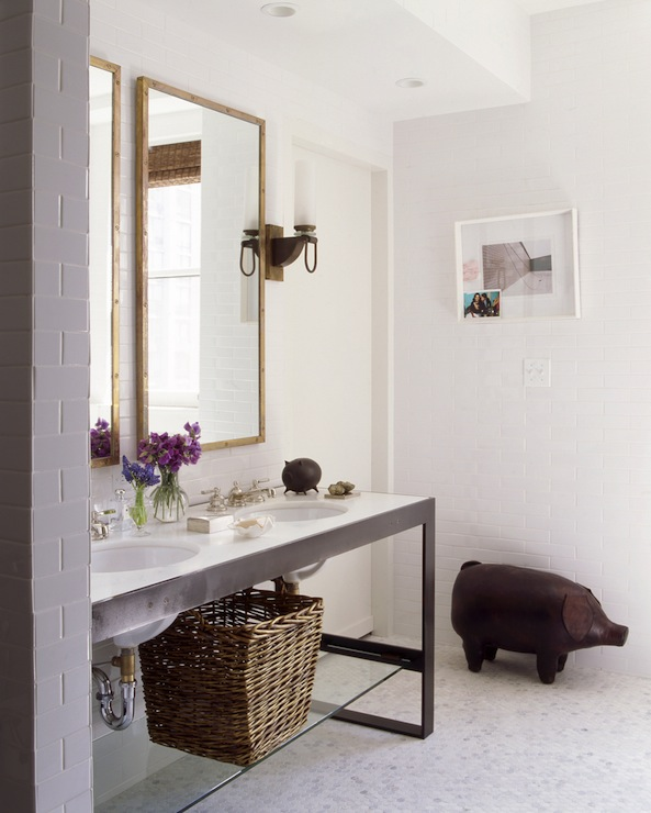 Nate Berkus Design - bathrooms - metal double washstand, wood pig, his and her sinks,  Clean minimal white bathroom!  Double sink vanity with