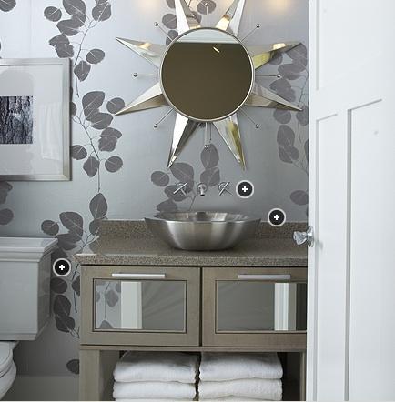 ... wallpaper, silver leaf wallpaper, powder room wallpaper, wallpaper for