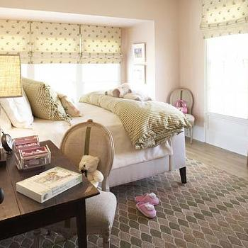 Westbrook Interiors - girl's rooms - girls room paint colors, girls room pink paint colors, light pink walls, light pink paint, light pink paint colors, , Cowtan & Tout Rosebud Fabric,