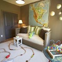 Westbrook Interiors - boy&#039;s rooms - Benjamin Moore - Rustic Taupe - taupe, brown, green, world map, art, velvet, upholstered, taupe, daybed, glass, pendant, light, gray, door, playroom, boy&#039;s room, taupe paint, taupe paint colors, taupe paint color, taupe walls, taupe color paint,