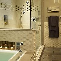 Kohler - bathrooms - basketweave tiles, spa like bathroom,  Love the basket weave tiles in this spa bathroom! Gray paint wall color.  gray bathroom!