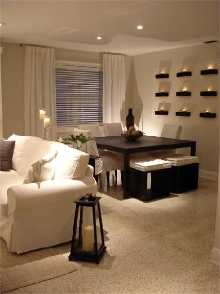 HGTV - dining rooms - white, sofa, dining chairs, square, espresso, dining, table, stools, white, drapes,  White slipcovered sofa and dining