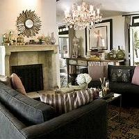Kishani Perera - living rooms - charcoal, gray, velvet, sofas, limestone, gray, fireplace sunburst, mirror, pink, crystal, chandelier, eclectic, art, gallery, striped, gray, pillows, pink, velvet, pillows, French, doors, gray, pink, living room,