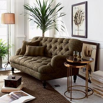 living rooms - nesting tables, round nesting tables, brass nesting tables, brown tufted sofa, brown tufted couch,  Crate & Barrel   tufted brown