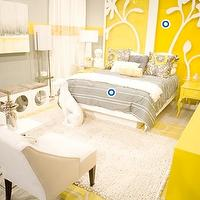 HGTV - bedrooms - white, modern, wingback, chairs, white, column, lamps, glossy, yellow, lacquer, nightstands, tables, yellow, white, wall art, yellow, dresser, ivory, flokati, rug, modern, lamps, gray, yellow, bedroom, yellow and gray bedroom, gray and yellow bedroom, gray and yellow bedrooms, yellow and gray bedroom design, gray and yellow, yellow and gray,