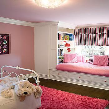 Pink Window Seat, Transitional, nursery, Brown Design