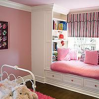 Brown Design - nurseries - window seat, kids window seat, pink window seat, pink walls, girls room, girls bedroom,  Hot pink flokati rug, white