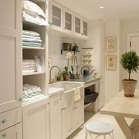 Martha Stewart - laundry/mud rooms - cottage laundry room, laundry room, laundry room table, laundry room sink, laundry room shelves, laundry r cabinets,