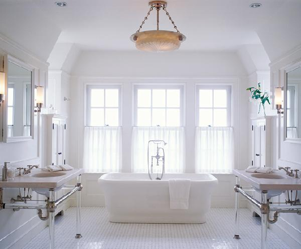 Architectural Digest - bathrooms - lucite washstand, lucite vanity, lucite bathroom vanity,  Beautiful White Bathroom