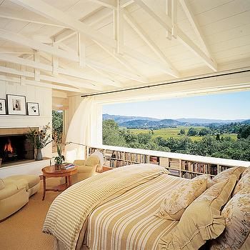Architectural Digest - bedrooms - bedroom fireplace, fireplace in bedroom, bedroom with great view,  A Beautiful bedroom in Napa Valley California.