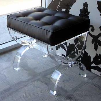 Seating - Acrylic Boutique Ottoman - acrylic ottoman, bench