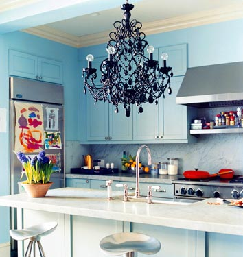 Domino Magazine - kitchens - Benjamin Moore - Woodlawn Blue - DWR Jamaica Counter Stool, black, chandelier, kitchen, island, turquoise, blue, kitchen, cabinets, modern, barstools, bar stools, counterstools, counter, stools. backsplash,