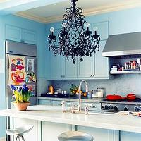 Domino Magazine - kitchens - Benjamin Moore - Woodlawn Blue - black, chandelier, kitchen, island, turquoise, blue, kitchen, cabinets, modern, barstools, bar stools, counterstools, counter, stools. backsplash,