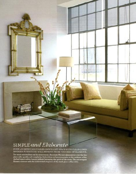living rooms - rococo gilt gold mirror travertine fireplace acrylic lucite modern coffee table green settee floor lamp wood floors living room
