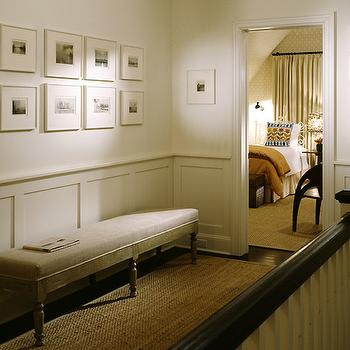 Nathan Egan - entrances/foyers: hallway wainscoting, hall wainscoting, hallway bench, hall bench,  Love this small hall with photo gallery, wainscoting