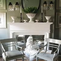 Eddie Ross - living rooms - gray, painted, French, chairs, white, bust, white, fireplace, milk glass, vases, black, candlesticks, brass, sconces, black, silk, shades, black, Victorian, mirror, vertical, botanical, art, gallery, sisal, rug living room,