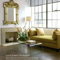 Eddie Ross - living rooms - gilt mirror, acrylic coffee table yellow chaise, yellow chaise lounge, yellow settee,  Love the extra large ornate