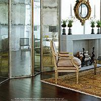 Eddie Ross - living rooms - gold, mirrored, floor screen, limestone, fireplace, gilt, ornate, mirror,  Mirrored folding screen is gorgeous!