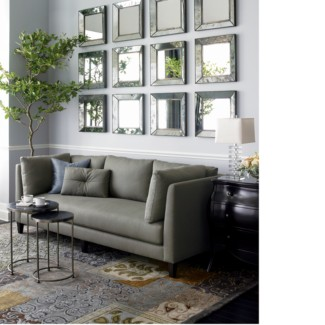 living rooms - gray, sofa, beveled, square, mirrors,  I love the mirrors above the sofa  gray silk sofa and beveled mirrors.