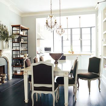 Blue Grey Paint Colors, French, dining room, Benjamin Moore Pale Smoke, Nate Berkus Design