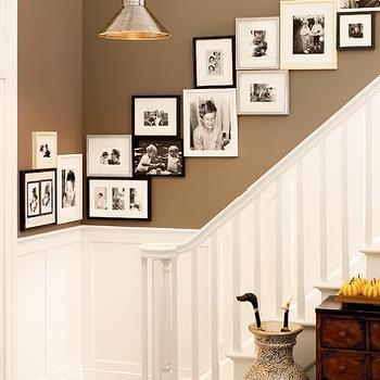 Benjamin Moore - entrances/foyers - Benjamin Moore - Texas Leather - photo gallery, staircase photo wall, wainscoting, staircase wainscoting, pottery barn paint, pottery barn paint colors,