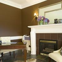 Benjamin Moore - dens/libraries/offices - Benjamin Moore - Ferret Brown - tufted chairs,  brown walls
