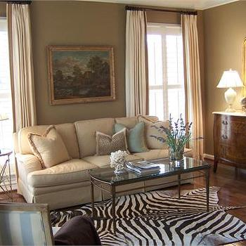 living rooms - taupe walls, taupe living room walls, zebra rug, , Zebra Cowhide Rug,  Beautiful Living Room  zebra cowhide rug, white drapes,