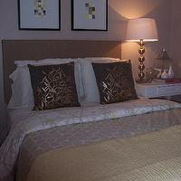 Nuestra Vida Dulce - bedrooms - lotus bedding, silver ball lamps from target, paint swatch art, Target Pillow, DIY Paint Swatch Art,  Lotus bedding,