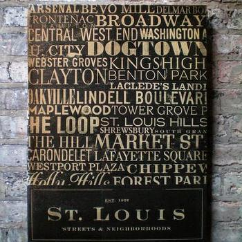 Art/Wall Decor - Etsy :: geministudio :: St. Louis Streets and Neighborhoods Canvas Art graphic art mixed media piece - art