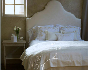 bedrooms - white, headboard, bedding, table, gold, wallpaper, white, cream, bedroom,  elegant bedroom  Silk upholstered headboard bed with shabby