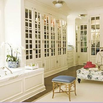 closets - dressing room, dressing room ideas, bamboo stool, gold bamboo stool,  chic walk-in closet/bathroom   Master bathroom closet space!
