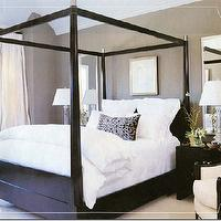 bedrooms - black, canopy, bed, white, bedding, black, throw pillow, silver, lamps, black, wood, modern, nightstands, silver, mirrors, taupe, gray, brown, walls, ivory drapes, ivory, accent, chair, bedroom, canopy bed, black canopy bed,
