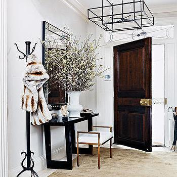 Thom Filicia - entrances/foyers - steel and glass lantern, foyer, foyer lantern, console table, foyer table, coat rack,  Chic entrance foyer
