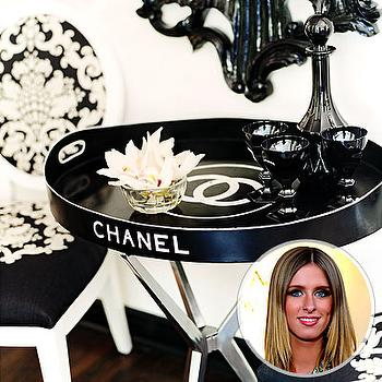 living rooms - chanel table, chanel tray, chanel tray table,  Nicky Hilton  vintage Chanel table!