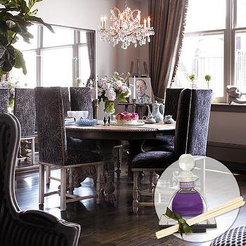 dining rooms - dining room, purple chairs, purple dining chairs, purple velvet dining chairs, purple dining room,  Molly Sims   Lovely round