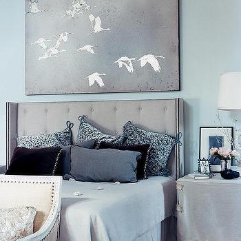 Blue and Gray Bedroom, Transitional, bedroom, Benjamin Moore Bird's Egg, Domino Magazine