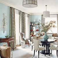 Domino Magazine - dining rooms: tufted, dining chairs, round, wood, brown, table, green, silk, drapes, drum, pendant, wire, lights, red, Asian, console, table, blue walls, dining room,