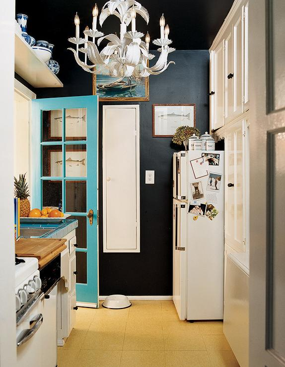 Domino Magazine - kitchens - white, Hollywood Regency chandelier, turquoise, blue, door, black walls, paint color, turquoise blue, black, kitchen, hollywood regency chandelier,