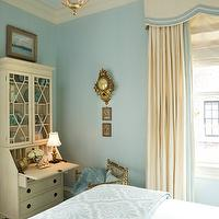 Kelley Interior Design - bedrooms - cornice box, cornice box ideas, cream and blue bedroom, secretary desk, glass front desk, blue damask blanket,
