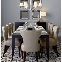 dining rooms - sasha, dining, chair, beveld, mirrors.,  sasha dining chair  espresso modern dining table, sasha chair and beveled mirrors.