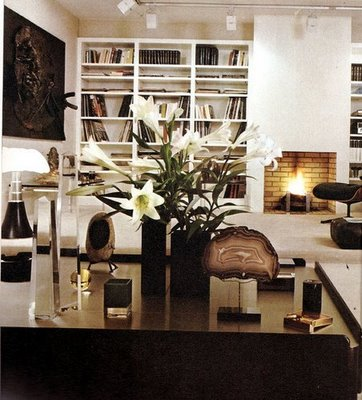 living rooms - modern white fireplace built-ins black wall art glossy black lacquer table track lighting living room  Thanks to Desire to Inspire!