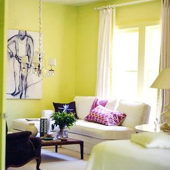 Domino Magazine - living rooms - yellow green walls, yellow green paint colors, armless loveseat, yellow green paint, yellow green paint colors,
