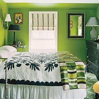Domino Magazine - bedrooms - bedding, lamps, window treatment,  That's Green!