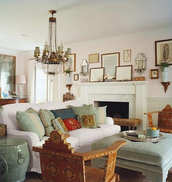 living rooms - Benjamin Moore - Romantic Pink - chandelier sofa chairs ottoman photo gallery  Thanks to DM! Don Freeman Photography!