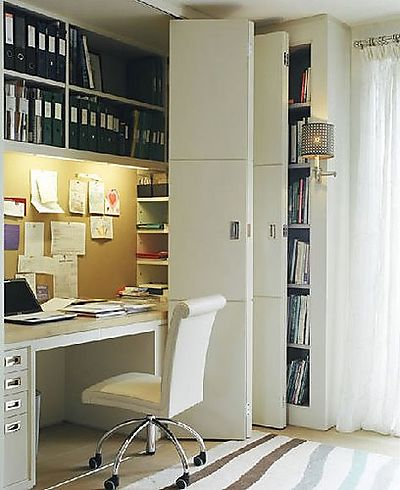 dens/libraries/offices - closet office, office in closet, closet desk, desk in closet, closet work space, work space in closet, closet converted into office, converted closet office, converted office closet, closet transformed into office, closet turned office,