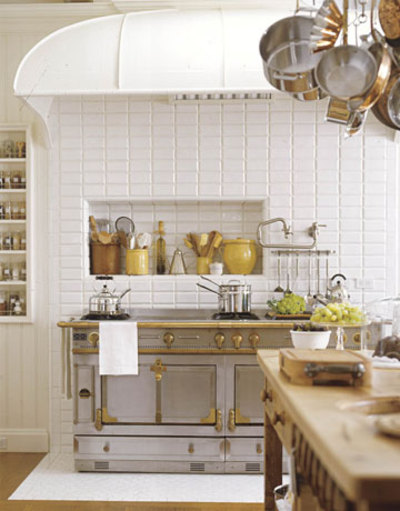 kitchens - range yellow white brown kitchen  Thanks to Simply Seleta!   yellow white brown kitchen colors!