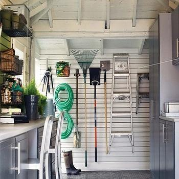 House & Home - garages - work area, garage work area, garage ideas, garage work station, organized garage,  Erin Feasby - organized garage