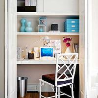 dens/libraries/offices - closet office, office in closet, closet desk, desk in closet, closet work space, work space in closet, closet converted into office, converted closet office, converted office closet, closet transformed into office, closet turned office, white bamboo chair, turquoise accents,